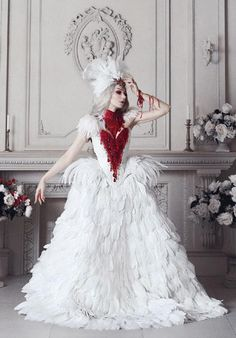 Items similar to Haute Gothic Wedding Gown ~ Feathers Overbust Corset ~ Bloody Swan Dress Vampire Wedding Ball Masquerade Costume ~ Halloween Outfit Corsets on Etsy Halloween Outfits, Halloween Wedding Dresses, Costume Halloween, Gothic Party, Gothic Wedding, Vampire Wedding, Witch Wedding, Crinoline Skirt, Goth Glam