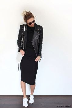 Leather jacket. Black dress. White shoes.