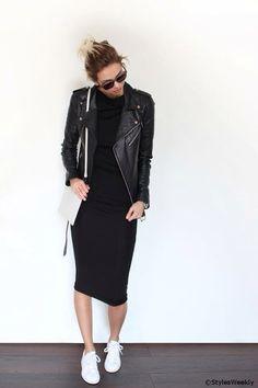 Leather jacket. Black dress. White shoes.