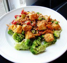 Thai Peanut Tofu Stir Fry    Tofu, broccoli, and sesame seeds.  What's not to like?