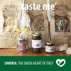 Italian food from Umbria. Wild boar sauce, Strangozzi, Tartufata sauce (mushroom and truffles), Slices of summer black truffles in a jar. Simply heaven