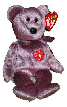 d18e4a9c98c Beanie Baby TY 2000 Signature Bear Purple PE Pellets 2000 Mint Teddy Bear  TH  Ty