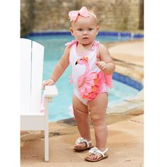 Crawler with flamingo applique with striped trim, bows at shoulders and mesh ruffles at bottom.