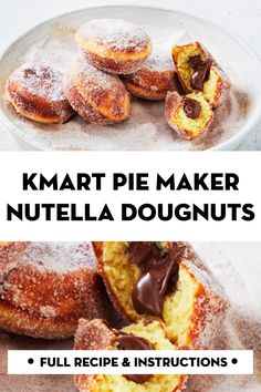 Perfect for afternoon tea or dessert, these easy cinnamon doughnuts are stuffed with Nutella and cooked in a Kmart pie maker. Mini Pie Recipes, Nutella Recipes, Sweet Recipes, Baking Recipes, Nutella Pie, Nutella Cookies, Breville Pie Maker, Donuts, Sweet Pie