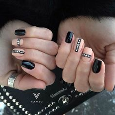 Beautiful evening nails, Beautiful winter nails, Beige and black nail designs, Beige nails with rhinestones, Black and beige nails, Ideas of winter nails, Medium nails, Nails with rhinestones