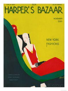 Vintage Harper's Bazaar Covers Art Deco Posters, Cool Posters, Vogue, Vintage Magazines, Fashion Magazines, Illustrations, Harpers Bazaar, Vintage Art, Wall Art Prints