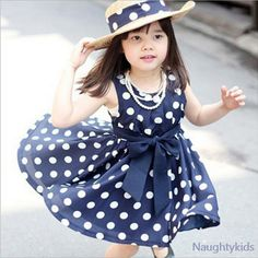 2017 Summer Polka Dot Girls Dress ,for 2~6y Baby Girls Wave Point Dress Kids Wear Casual Children Clothing, 2 Color Available #Affiliate