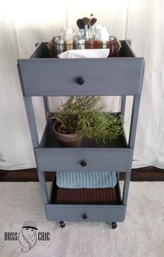 DIY 3 Tiered Chíc Rolling Cart/Side Table-Made From Dresser Drawers...I have been slowly transforming my garage into my workshop. It is a one care garage so I'm trying to take advantage of every square inch as possible. Their was a broken dresser in their taking up precious space so I had to get it out. But as I was throwing it to the curb side, I realized I could make something great out of it.