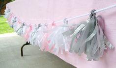 Easy and inexpensive tassel banner for baby shower