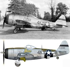 "This is the P-47D-27-RE (s/n 42-26860) named ""Angie"" of the 512th Fighter Squadron, 406th Fighter Group, 9th Air force flown by Anthony GROSETTA based at Asch (Y-29) in Belgium in early 1945 Photo : USAAF"