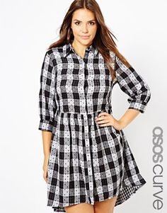 ASOS CURVE Exclusive Smock Dress In Spot Check - OMGosh!  Super cute clothes.