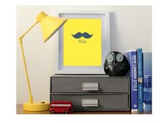 Items similar to Ola Moustache Poster Print, Many Colours Available on Etsy Bright Yellow, Moustache, London Fashion, Poster Prints, Unique Jewelry, Handmade Gifts, Etsy, Vintage, Style