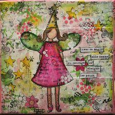 Little fairy. Mixed media canvas
