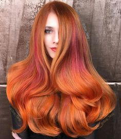 20 long copper hair with orange highlights Orange Highlights, Hair Color Highlights, Hair Color Dark, Hair Color Balayage, Ombre Hair, Hair Colour, Summer Highlights, Color Red, Copper Hair