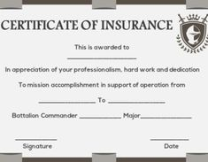 salvation army certificate of insurance