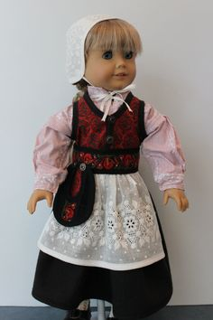 Nordic Style Outfit in Red and Black with Hand Embroidered Cap and Apron by ForAllTimeDesigns