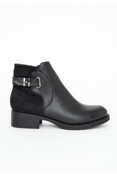 Stephanie Contrast Panel Buckled Ankle Boots