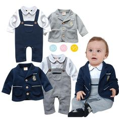Newborn Baby Boy Rompers Cotton Clothes Set Infant Outfits Jumpsuit Romper Coat Toddler Baby Gentleman Birthday Party Clothes with Free Shipping