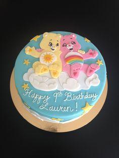 Care Bear Cake: Buttermilk Cake, Strawberry Compote, White Chocolate Ganache, Fondant decorations.