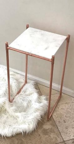 Copper Pipe Table Plant Stand with Carrara Marble Top