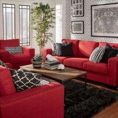 Cozy Modern Red Sofa Design Ideas for Living Room Living Room Decoration red living room decor Red Couch Living Room, Red Living Room Decor, Living Room Modern, Living Room Furniture, Living Room Designs, Modern Furniture, Small Living, Rustic Furniture, Red Sofa Decor