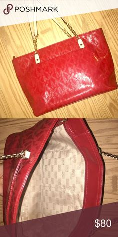 Spring cleaning. 🤗 Beautiful patent leather cheery red monogram MK bag is a great summer accessory. I received many compliments the 2 times I wore it. KORS Michael Kors Bags Totes