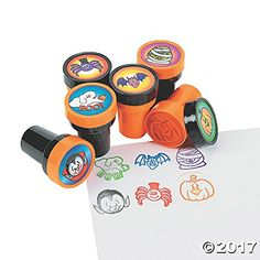 Fun Express Halloween Stamps - 24 per unit Science Kit Package of 24 Stamps 6 different stamps Great party favor or activity Halloween Goodie Bags, Halloween Treats For Kids, Halloween Party Invitations, Kids Party Games, Halloween Home Decor, Halloween Food For Party, Halloween Stickers, Halloween Dance, Kawaii Halloween