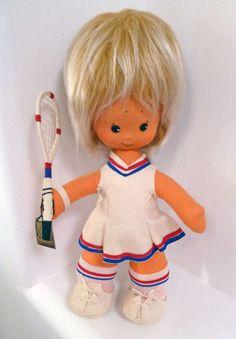 Big Eyes Soft Sculpture Doll Spain Tennis Player Racket TAT 1970s Patriotic #TAT
