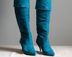 1980s teal green suede high heel boots | fold over boots | 6.5 | 7