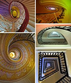 The Eye Mel's Bookstore in Rome features this impressive elliptical spiral staircase in the top two photos. The beautiful spiral staircase on the lower left can be found in the Austrian Benedictine Abbey in Melk. But the dizzy feeling continues in the snail house design, spiraling up on the middle right. Dizzy yet? Going up or going down, can you tell which end is up in the lower right photo?