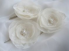 For the bridesmaids? Ivory Hair Pin Wedding Accessories  Set Of Three by FloroMondo, $18.00