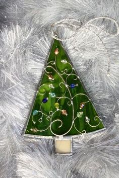 Stained Glass Christmas Tree Ornaments by loirbear on Etsy, $15.00