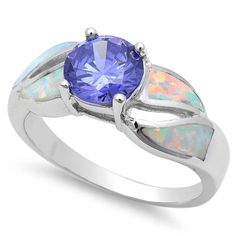 1.10CT Round Synthetic Tanzanite Lab White Opal Inlay Split Shank Solitaire Ring Solid 925 Sterling Silver Wedding Engagement Ladies Ring