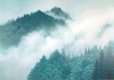 'Peaks in Clearing Weather' lithograph by Kaii HIGASHIYAMA Japanese Art Styles, Japanese Modern, Japanese Prints, Japanese Mountains, Painted Rug, Kimi No Na Wa, Mountain Paintings, Painting Gallery, Painting Wallpaper
