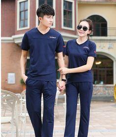 CC01158 Thin Casual couples summer slim sportswear a set