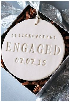 Check out these custom Christmas engagement ornaments. Add names date, a photo or illustration then SAY YES to these engagement ring ornaments! Engagement Tips, Engagement Gifts For Couples, Engagement Party Gifts, Country Engagement, Engagement Couple, Engagement Outfits, Engagement Shoots, Engagement Ornaments, Christmas Engagement