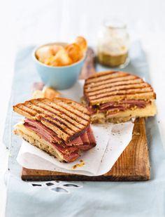 Pastrami and Swiss cheese sandwich