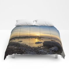 Sun with faint halo over the calm sea and reef rocks Comforters by Tapuphoto (Tapani Teittinen) Halo, Comforters, Bed Pillows, Nature Photography, Rocks, Sun, Home Decor, Creature Comforts, Pillows