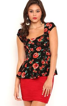 Deb Shops Short Sleeve Textured Peplum Top with Rose Print $9.50