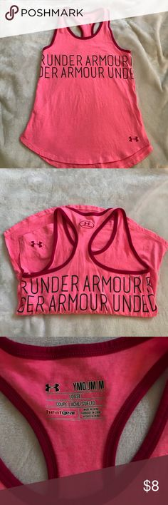 Girls Under Armour t-shirt Girls racer back t-shirt with logo around the whole shirt. Very gently used. My picky daughter likely never wore it but probably threw it in the wash a couple times😬 Under Armour Shirts & Tops Tank Tops