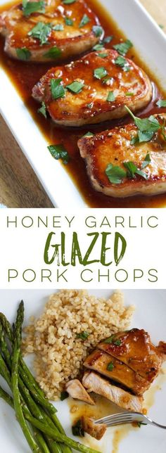 garlic glazed pork chops are quick and easy - perfect for busy weeknights - and that sweet, saucy glaze is a crowd-pleaser!Honey garlic glazed pork chops are quick and easy - perfect for busy weeknights - and that sweet, saucy glaze is a crowd-pleaser! Honey Garlic Pork Chops, Honey Glazed Pork Chops, Glaze For Pork Chops, Marinade For Pork Chops, Oven Baked Pork Chops, Sides For Pork Chops, Pork Chops And Rice, Dinner With Pork Chops, Pork Chop Sauce