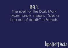 """Harry Potter Facts The spell for the Dark Mark """"Morsmorde"""" means """"bite of death"""" in French. Harry Potter Fun Facts, Harry Potter Monopoly, Always Harry Potter, Slytherin Harry Potter, Harry Potter Spells, Harry Potter Cast, Potter Facts, Harry Potter Quotes, Harry Potter Universal"""