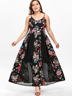 deb0da1a91ea4 Buy Plus Size Floral Flowy Bohemian Strap Dress at indozstyle.com! Free  shipping to
