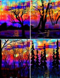 4 Fabric Prints Sunset Mountian Landscape Forest UNIQUE Quilting-inktense perhaps?
