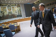 """Secretary-General Ban Ki-moon and Barack Obama, President of The United States of America, at the Security Council Chamber during the """"UN Week"""""""