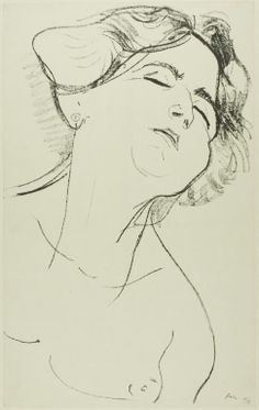 Henri Matisse  -  Head of a Woman with Eyes Closed, 1906, Lithograph on paper, 457 x 279 mm  | The Art Institute of Chicago