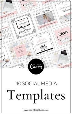 40 Social Media Templates for Canva! Our Blush Social Media & Pinterest Templates include 4 packs of Canva & Photoshop Templates to brand your Social Media instantly!! These Social Media and Pinterest Templates will save you time and money! Everything is included within 4 incredibly easy to edit template packs. These Blush Social Media & Pinterest Templates are fully editable! Colors, fonts, and shapes!  You can also add any elements and branding you want! #socialmedia #canvatemplate #canva