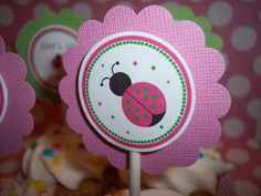 Pink Ladybug Birthday Party Cupcake Toppers - Ladybug Cupcake Toppers - Lady bug Birthday - Ladybug Party - Ladybug Birthday Decor 4 DESIGNS. $9.99, via Etsy.