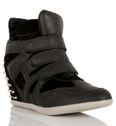 Black Sneaker Wedge with Spikes