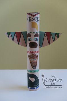 Cindy deRosier: My Creative Life: Cardboard Tube Totem Pole Craft Native American Totem Poles, Native American Crafts, American Indian Art, American Symbols, American Women, American Indians, American History, Totem Poles For Kids, Totem Pole Craft